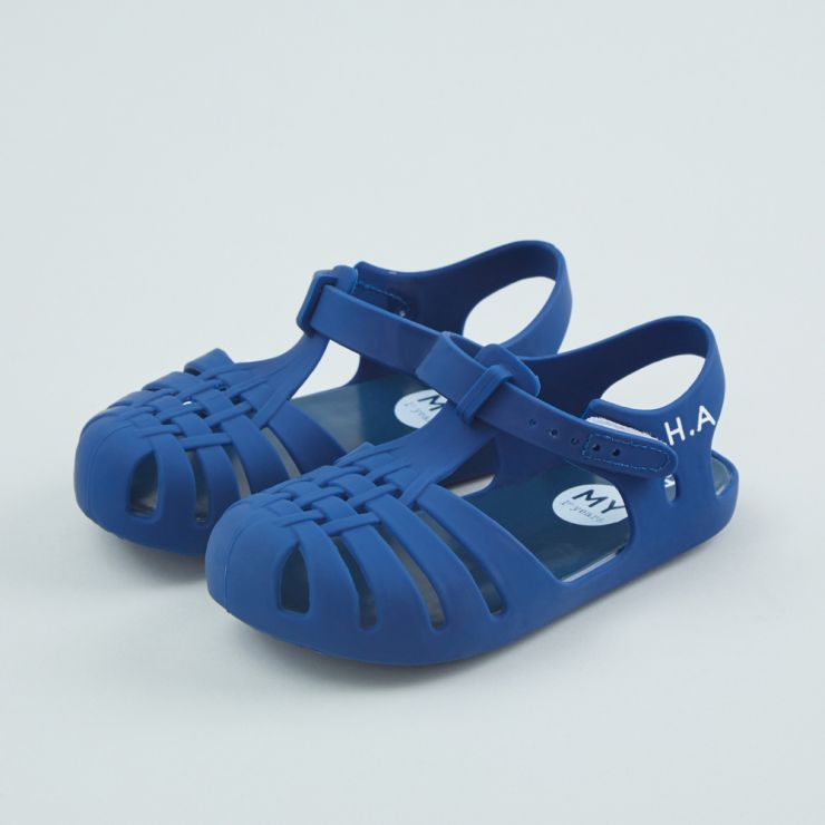 Personalised Blue Toddler Jelly Shoes