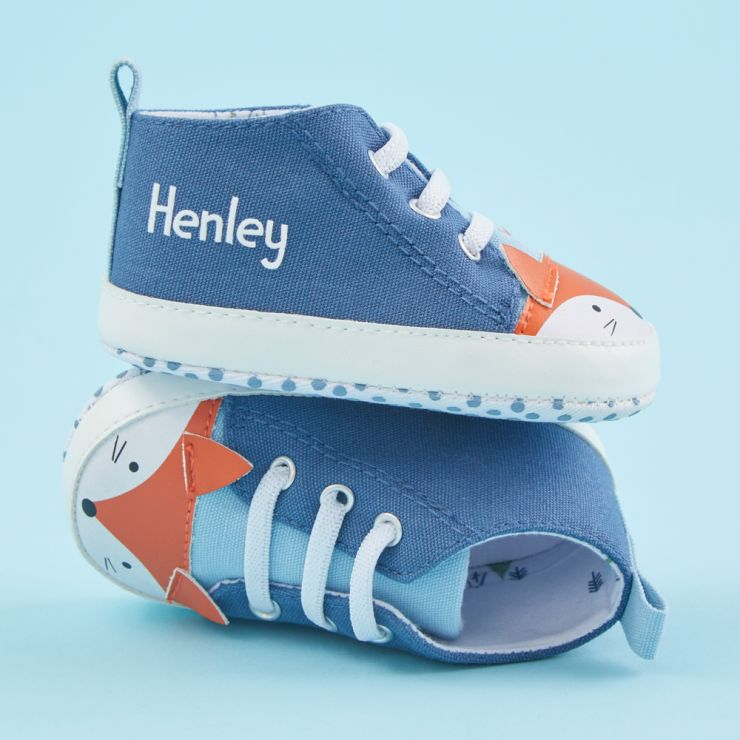 Personalised Blue Fox High Top Trainers