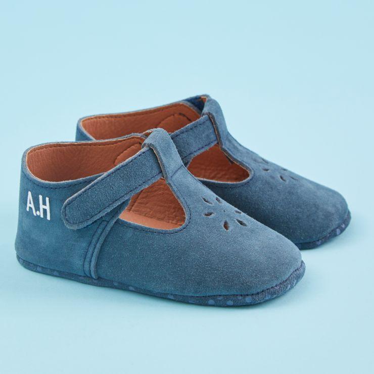 Personalised Blue Suede Pram Shoe