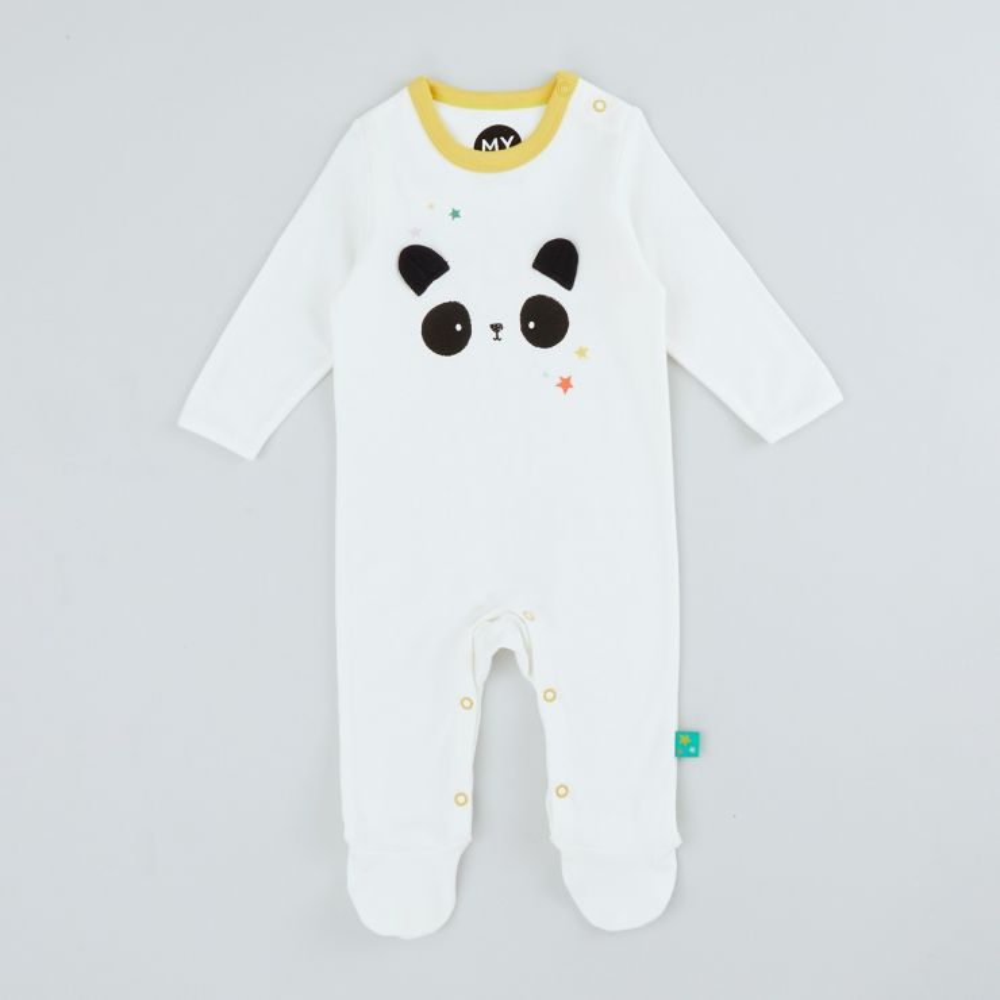 Personalised Panda Face Design Organic Sleepsuit
