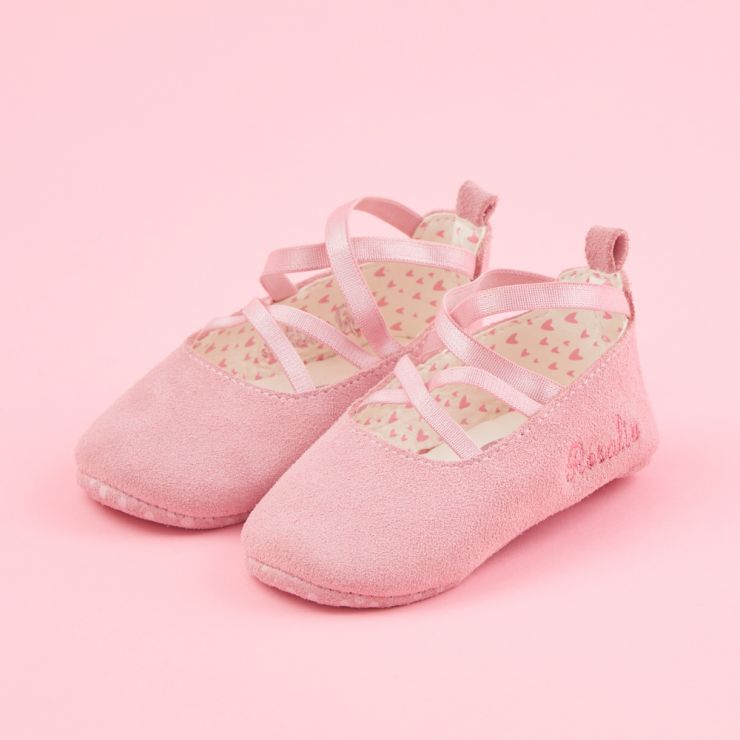 Personalised Pink Baby Ballet Shoes