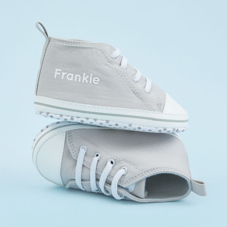 Personalised Grey Baby High Top Shoes
