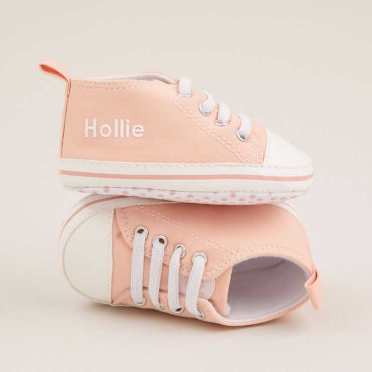 Personalised Pink Baby High Top Shoes