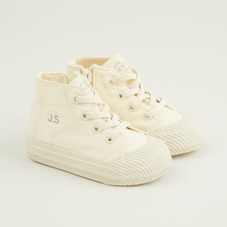 Personalised Ivory Kids High Top Trainers