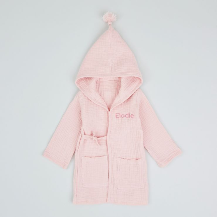 Personalised Pink Luxury Muslin Dressing Gown