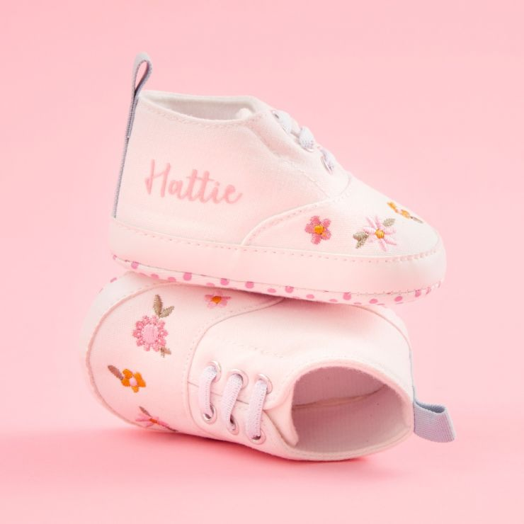 Personalized Pink Floral Baby High Top Trainers