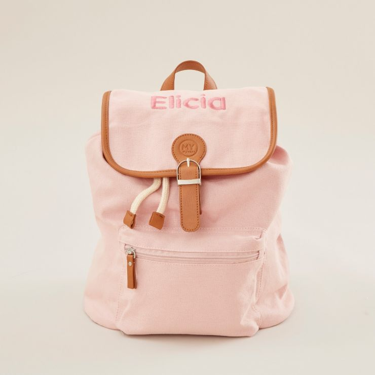 Personalized Pink Canvas Backpack