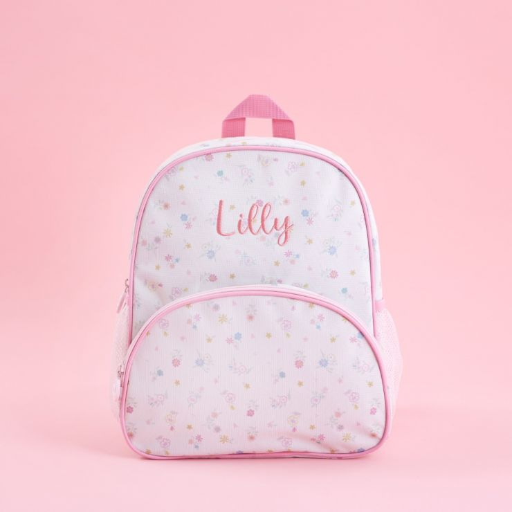 Personalised Pink Floral Print Mini Backpack