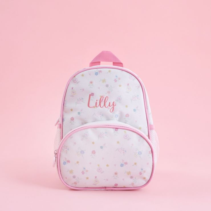 Personalized Pink Floral Print Medium Backpack
