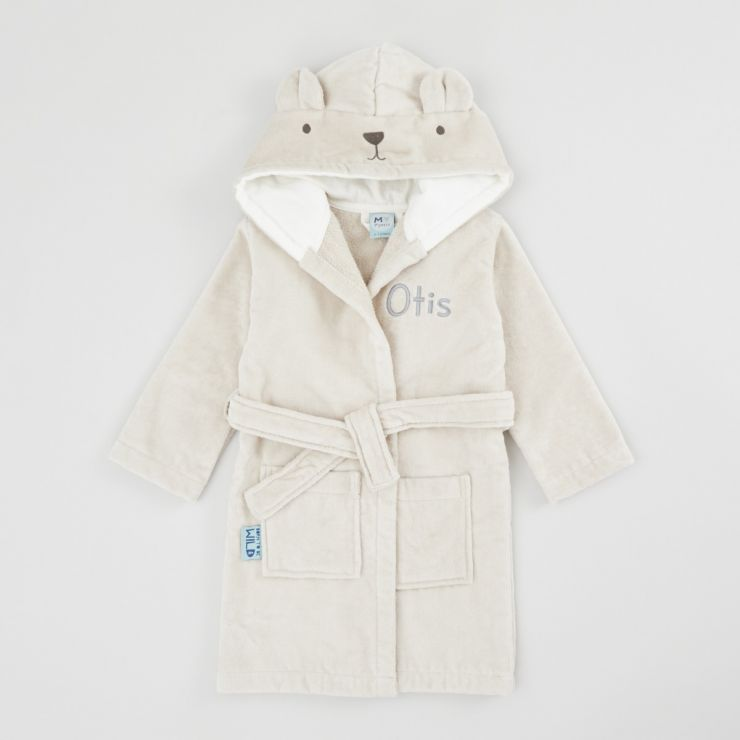 Personalised Taupe Bear Towelling Dressing Gown
