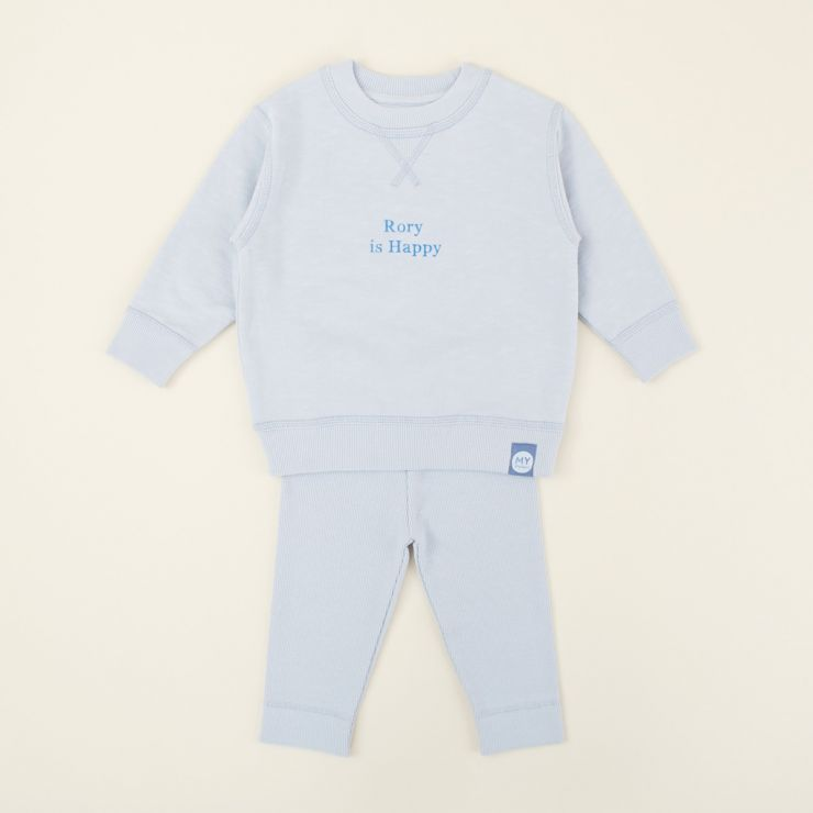 Personalized Blue Slogan Outfit Set
