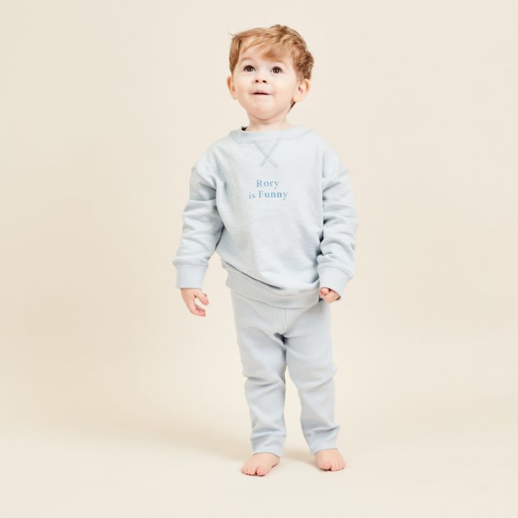 Personalised Blue Slogan Outfit Set