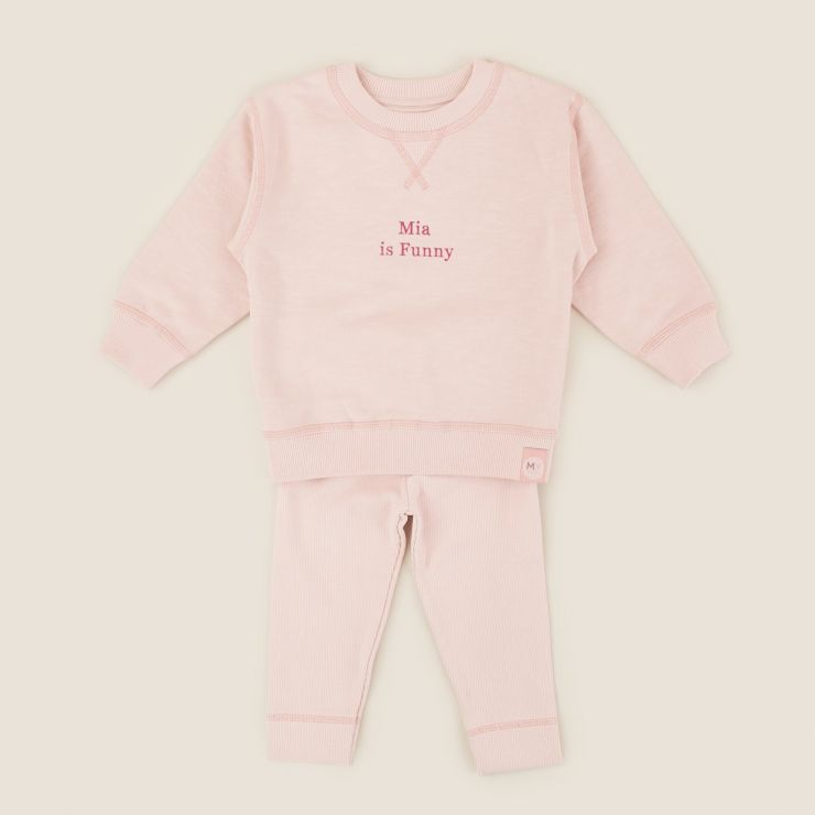 Personalised Pink Slogan Outfit Set