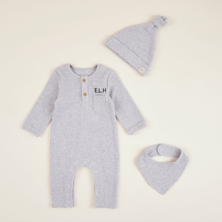 Personalised Grey Ribbed Jersey Outfit Set (3 piece)