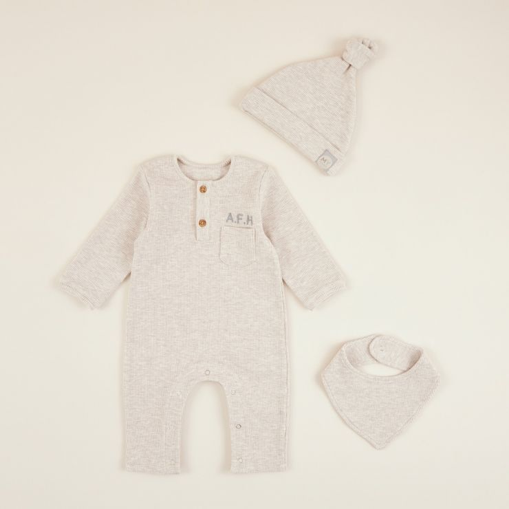 Personalised Oatmeal Ribbed Jersey Outfit Set (3 piece)