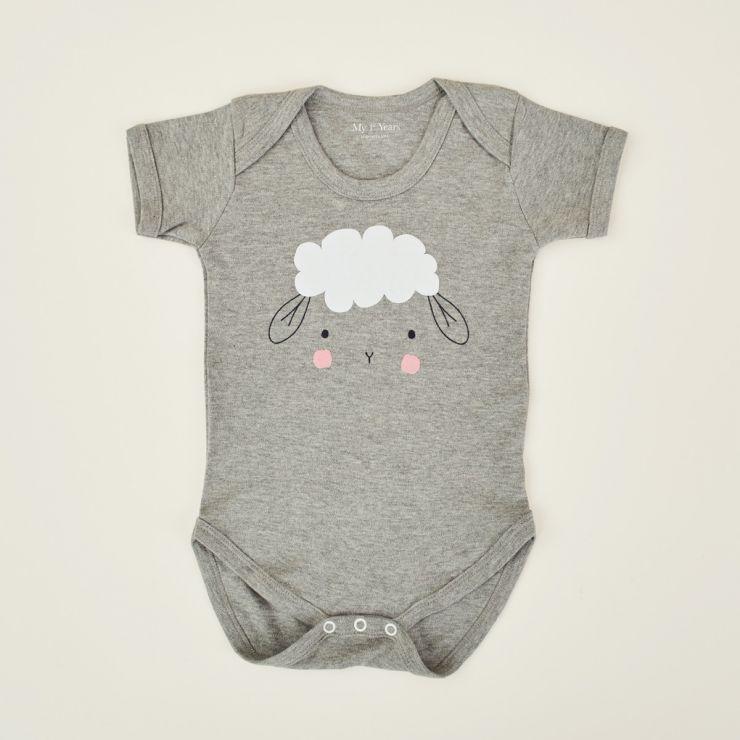 Personalised Grey Sheep Design Bodysuit