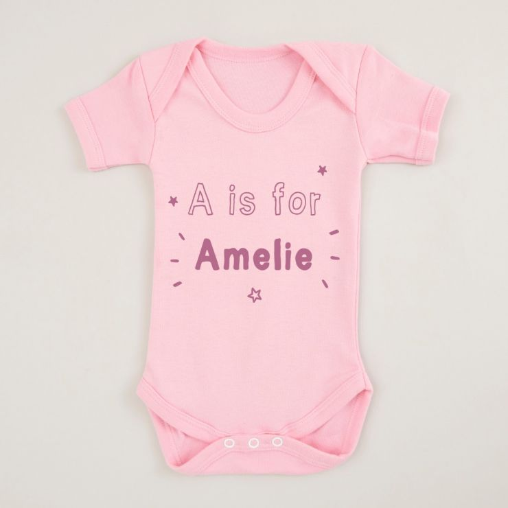 Personalised Pink 'Letter' is for 'Name' Bodysuit