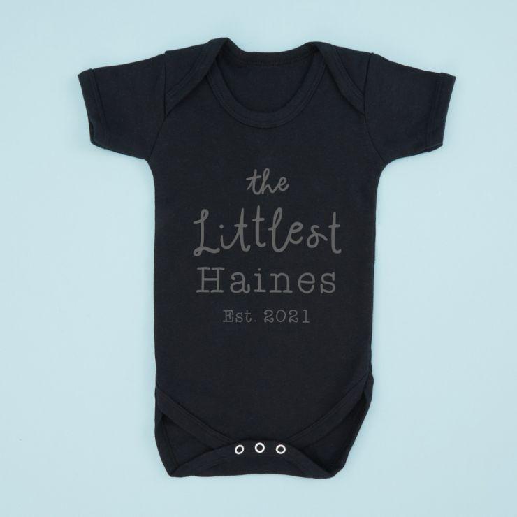 Personalized Black 'The Littlest' Bodysuit