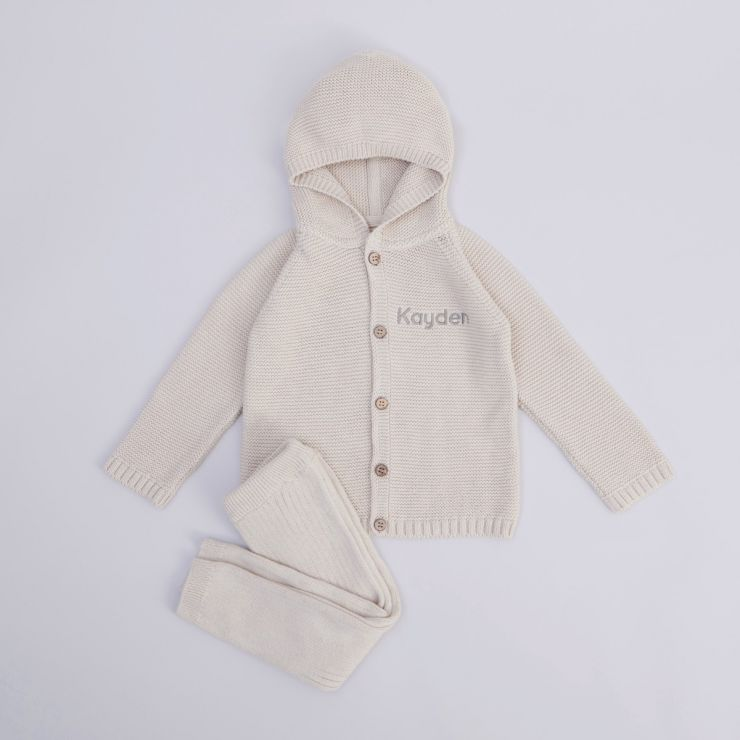 Personalised Oatmeal Knitted Outfit Set (2 Piece)