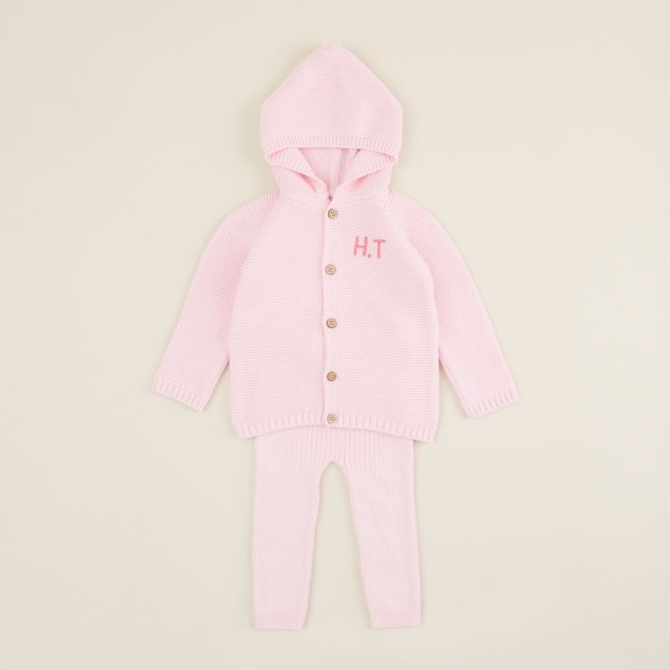 Personalised Pink 2 piece Knitted Outfit Set