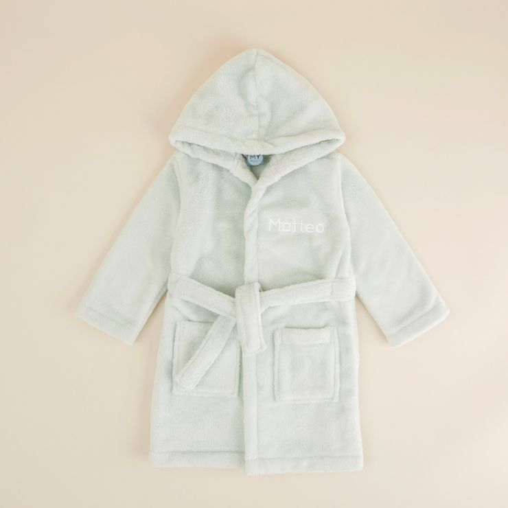 Personalized Mint Hooded Fleece Dressing Gown