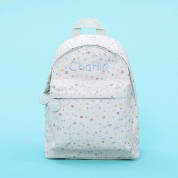 Personalised Rainbow Polka Dot Print Backpack