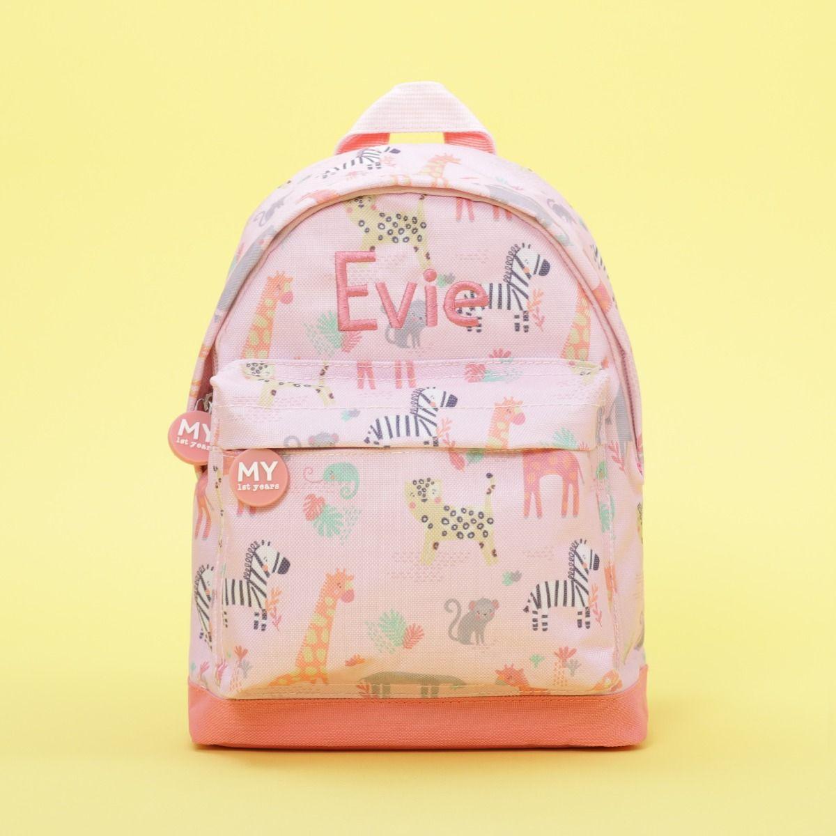 Personalised Pink Safari Print Backpack