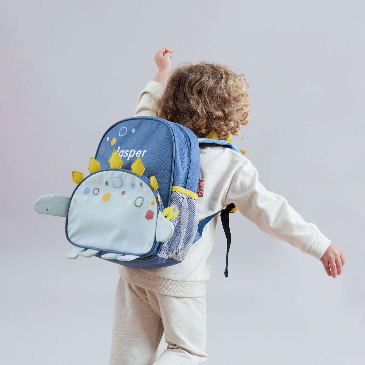 Personalised Blue Dinosaur Medium Backpack