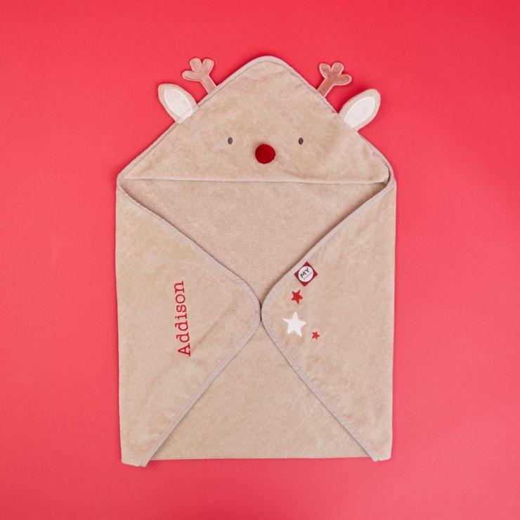 Personalised Reindeer Hooded Towel