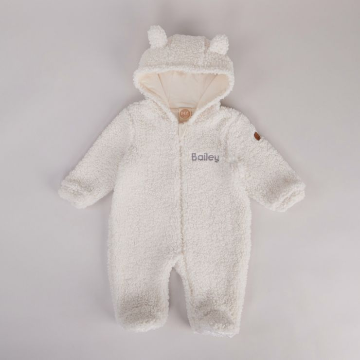 Personalised Cream Bear Pramsuit