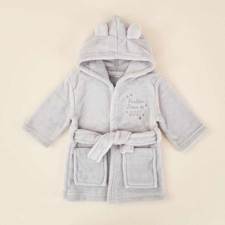 Personalised 'Born in 2021' Grey Hooded Fleece Robe