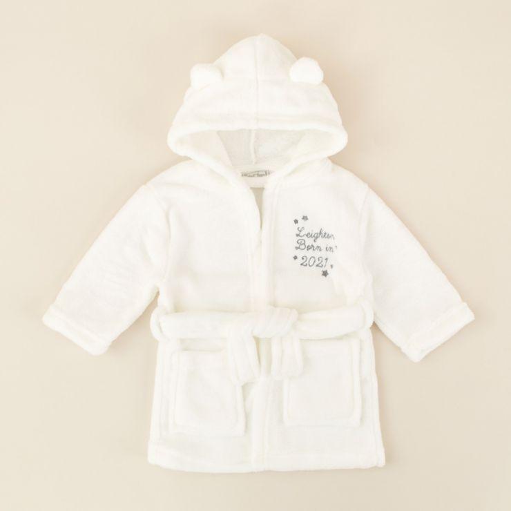 Personalised 'Born in 2021' Ivory Hooded Fleece Robe