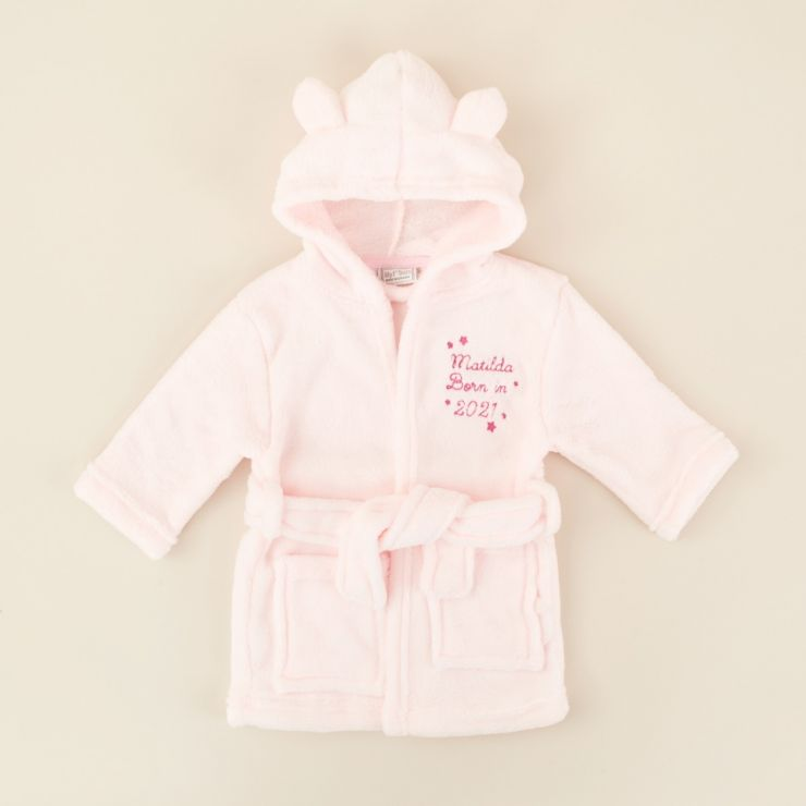 Personalized 'Born in 2021' Pink Hooded Fleece Robe