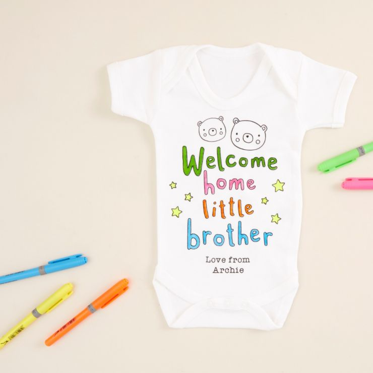 Personalised 'Welcome Home Little Brother' Colour Yourself Bodysuit