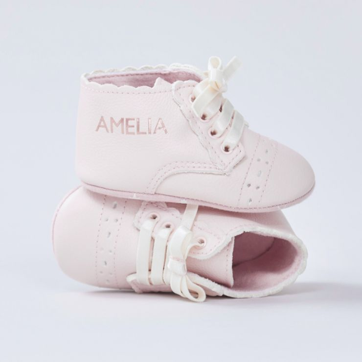 Personalised Pink Leather Booties