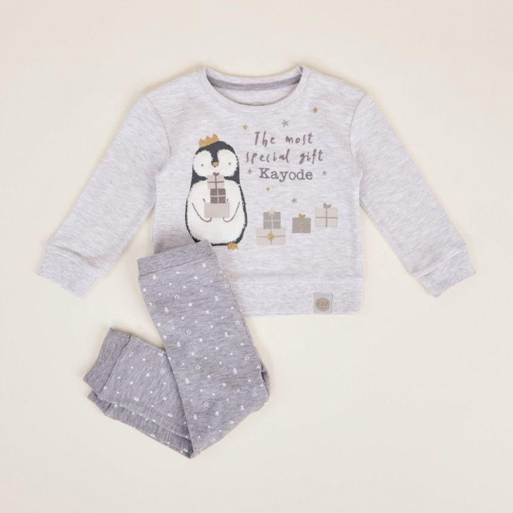 Personalised Christmas Penguin Pyjama Set