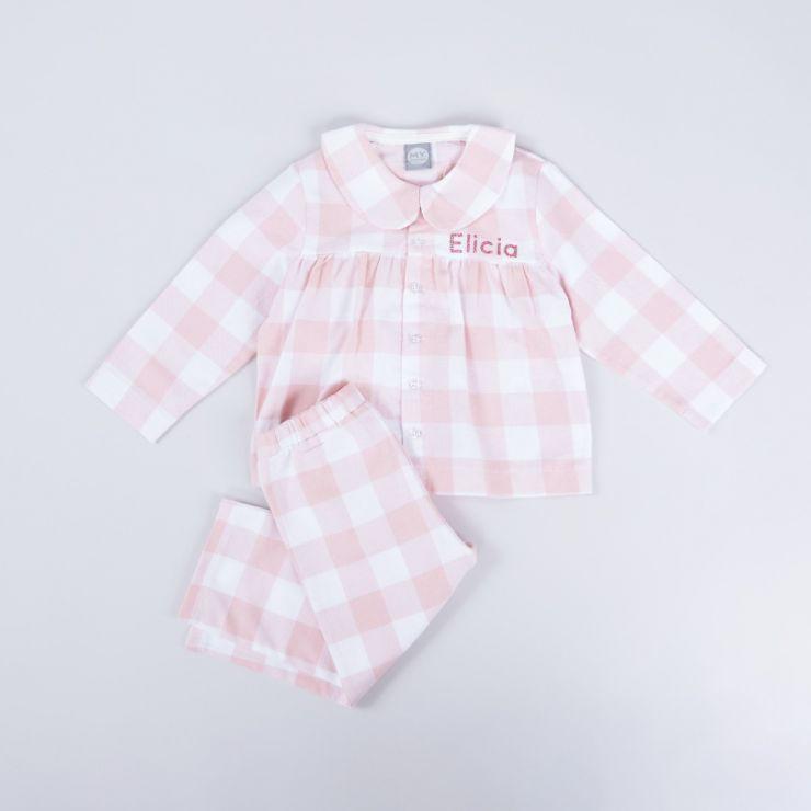Personalised Traditional Pink Checkered Pyjama Set