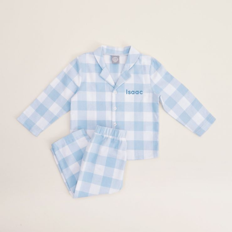 Personalised Traditional Blue Checkered Pyjama Set