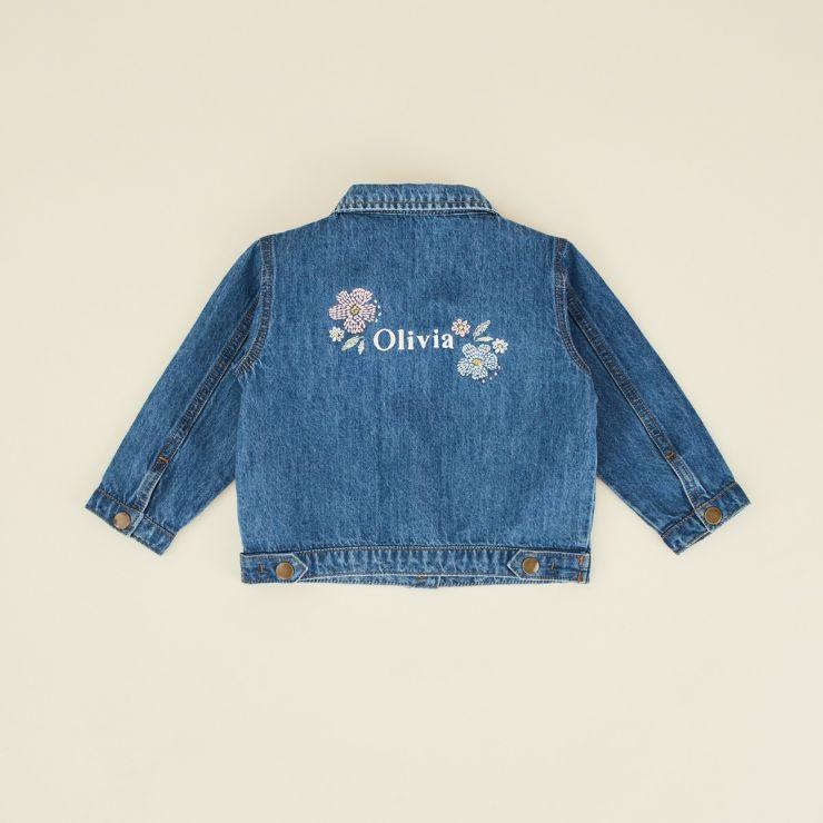 Personalised Floral Design Children's Denim Jacket