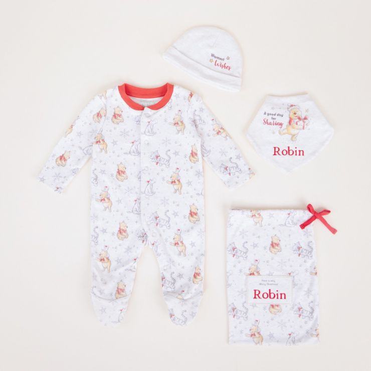 Personalised Winnie the Pooh Christmas Baby Outfit Set (4 piece)