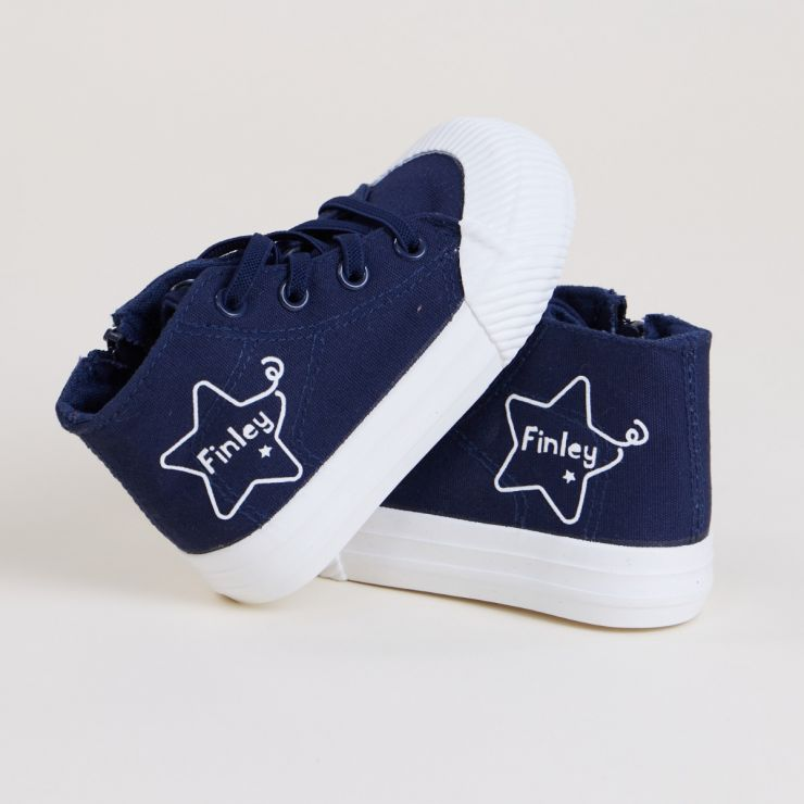 Personalised Navy Star Design High Top Trainers