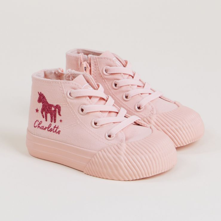 Personalised Pink Unicorn Design High Top Trainers