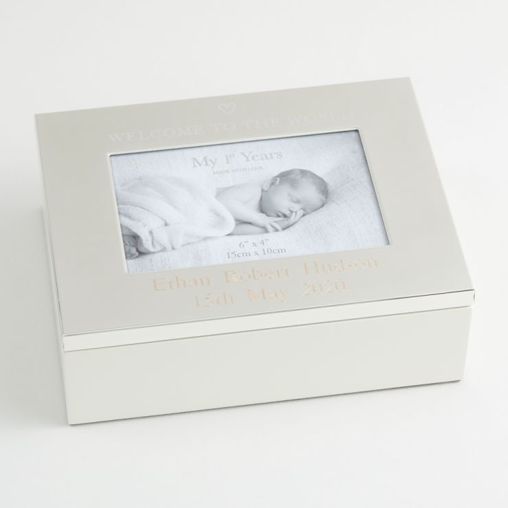 Personalised Silver-Plated 'Welcome to the World' Keepsake Box