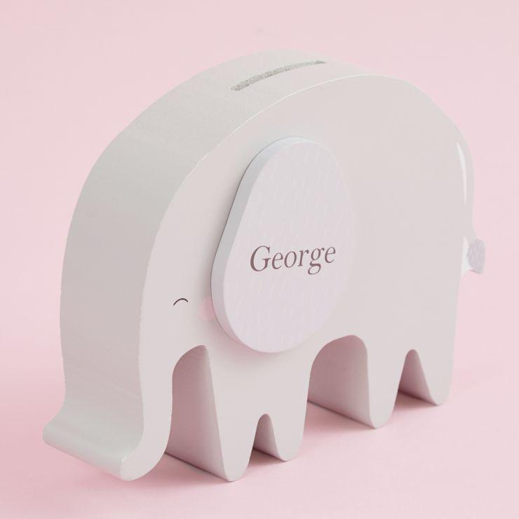 Personalised Grey Elephant Money Box