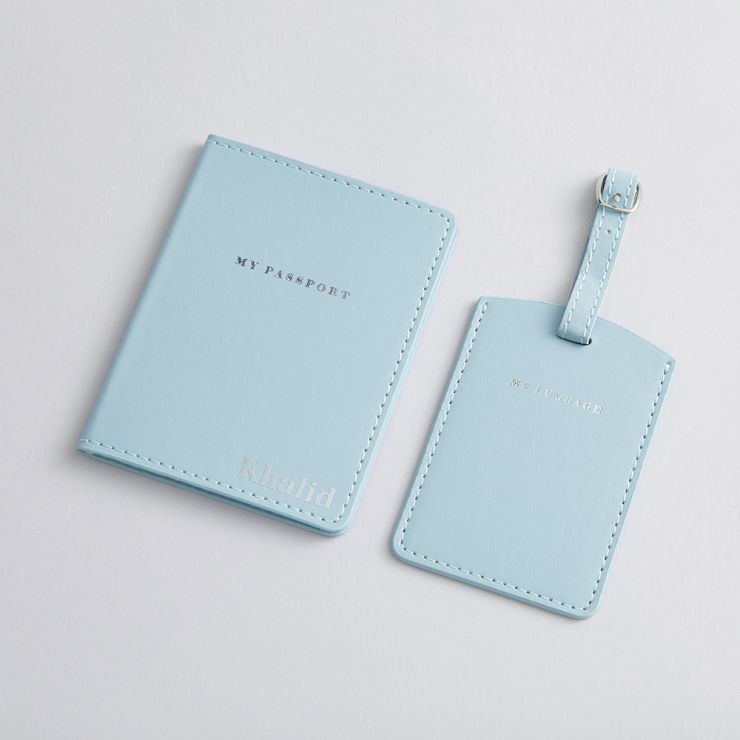 Personalised Passport Holder & Luggage Tag - Blue