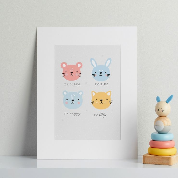 Personalised Furry Friends Children's Room Print Mount Board Only