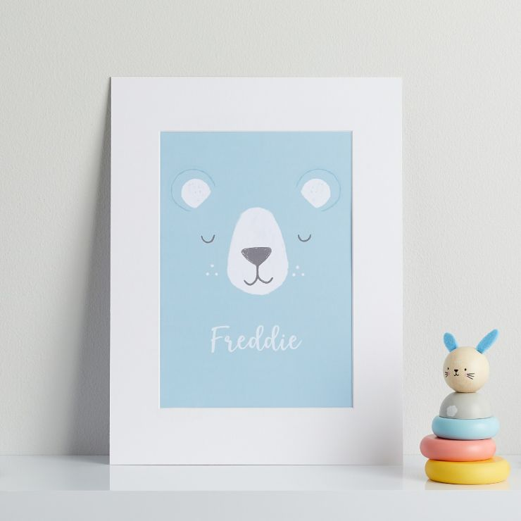 Personalised Blue Bear Children's Room Print Mount Board Only