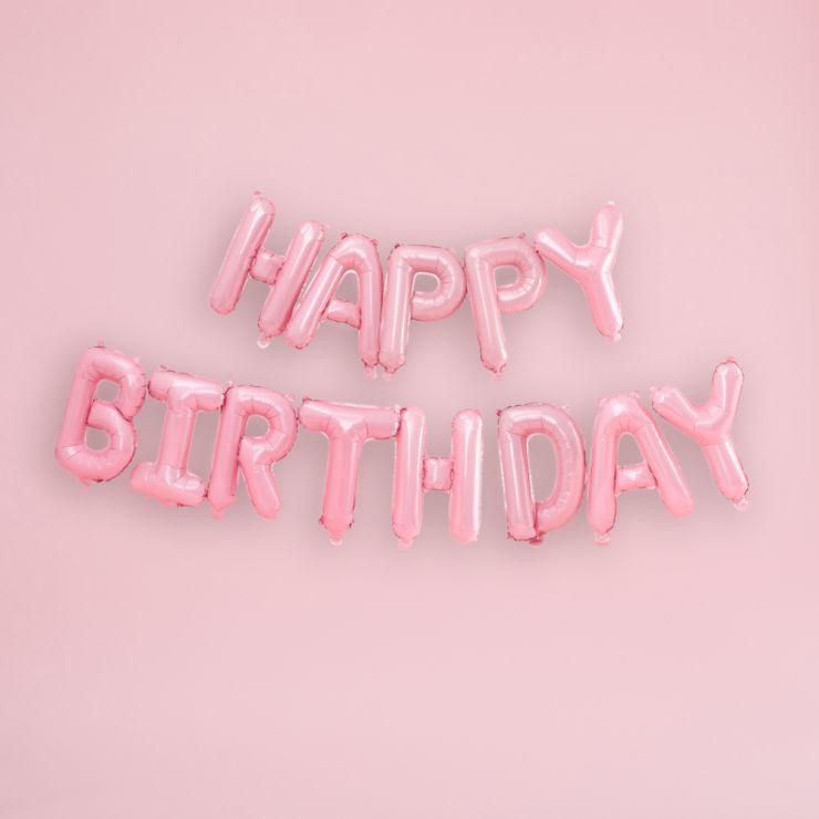 Ginger Ray Matte Pink Happy Birthday Balloon Bunting
