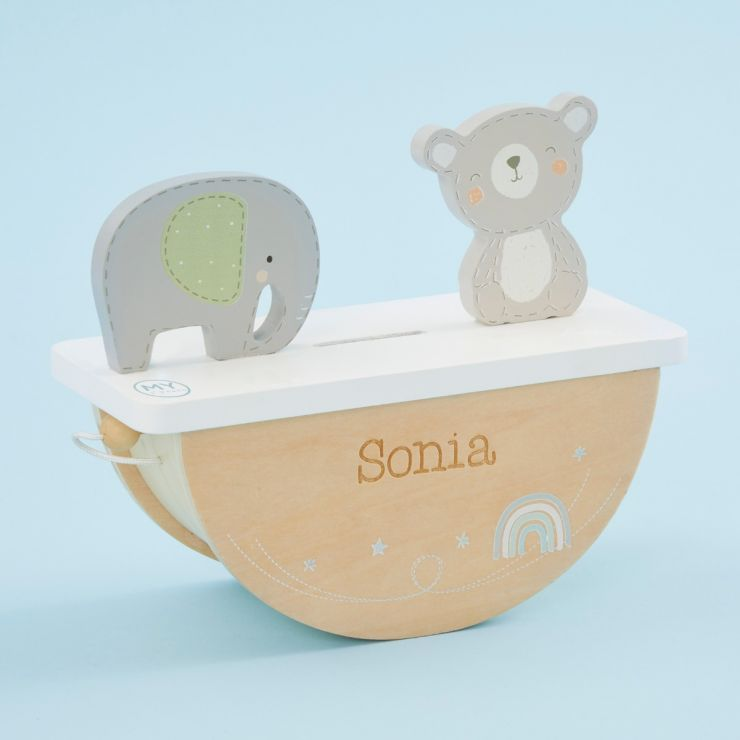 Personalised Wooden Bear and Elephant Rocking Money Box
