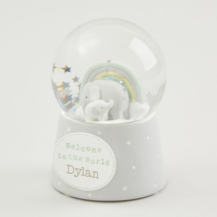 Personalised Welcome To The World Elephant Snow Globe